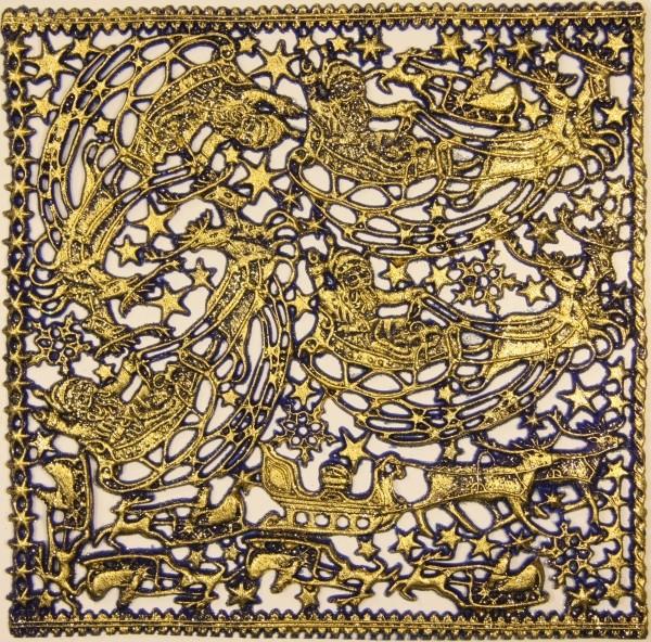 Wachsornament-Platte Rentierschlitten, 16 x 16 cm, royalblau