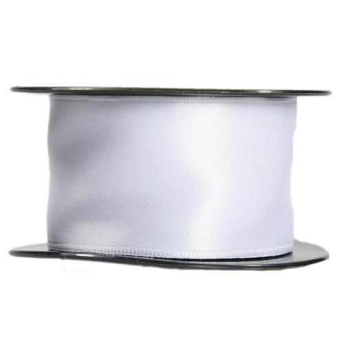 Satin-Schleifenband mit Drahtkante, 39mm x 10m, weiß