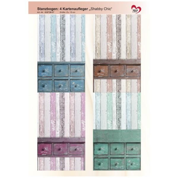 """Stanzbogen, 4 Kartenaufleger """"Shabby Chic"""", DIN A4, Design 7"""