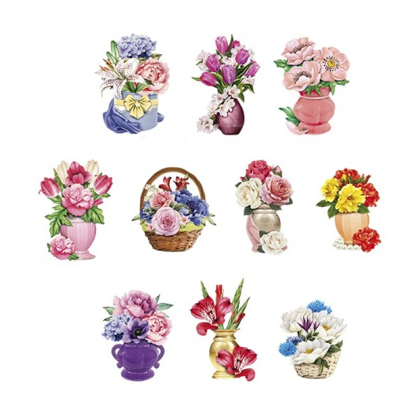 3-D Motive, Blumen-Deko, 6-10cm, 10 Motive