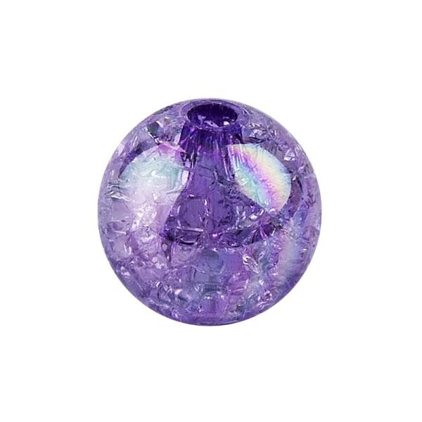 Perlen, Crackle, Ø 10mm, violett-irisierend, 50 Stk.
