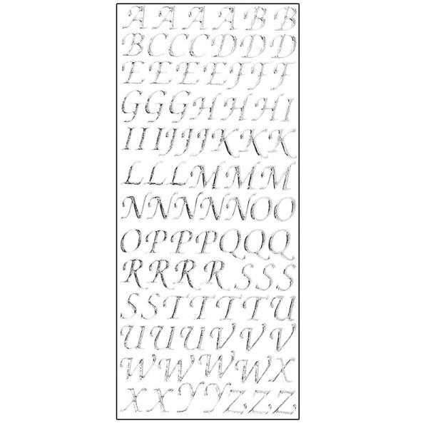 Microglitter-Sticker, Alphabet, Großbuchstaben, silber