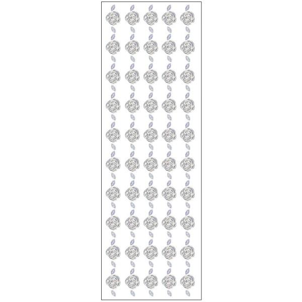 Kristallkunst, Blüten-Bordüre 2, 10cm x 30cm, selbstklebend, klar irisierend