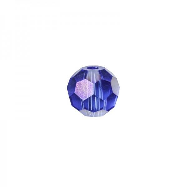 Glas-Perlen, transparent, Ø6 mm, 20 Stück, saphir-irisierend