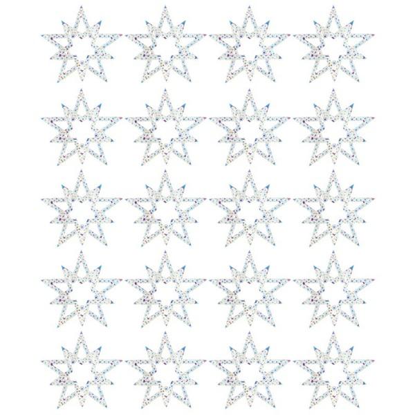 Kristallkunst-Schmucksteine, Stern, Ø 3,8cm, transparent, klar, irisierend, 20 Stück