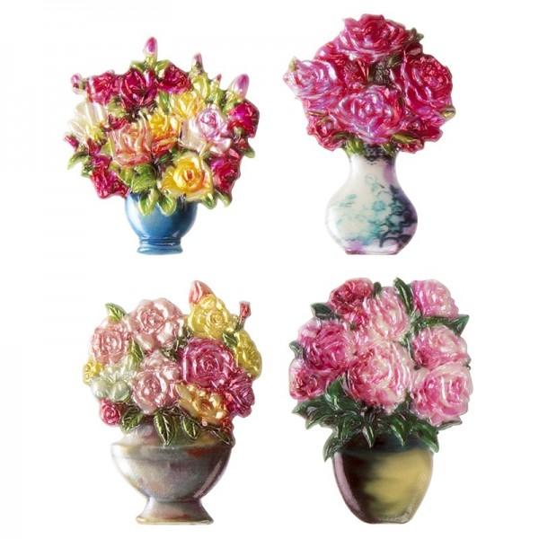 Wachsornamente, Blumenvasen 1, 4 Stück