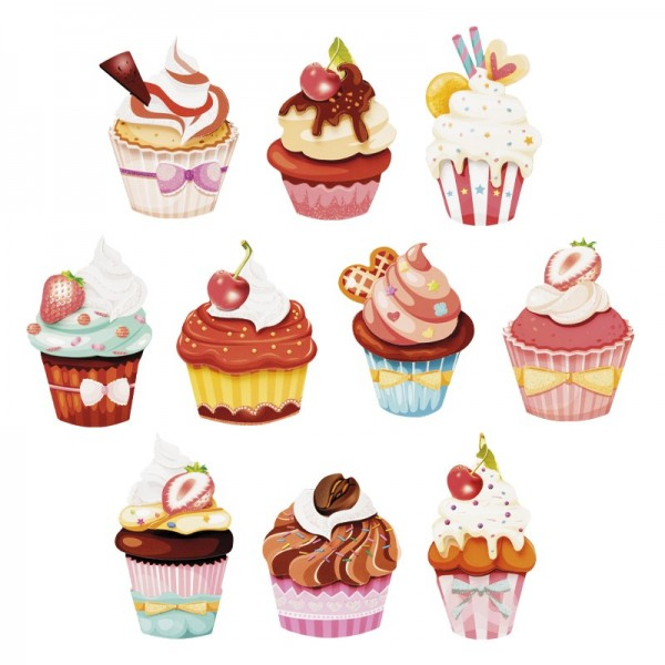 3-D Motive, Royal-Cupcakes, 5-9cm, 10 Motive