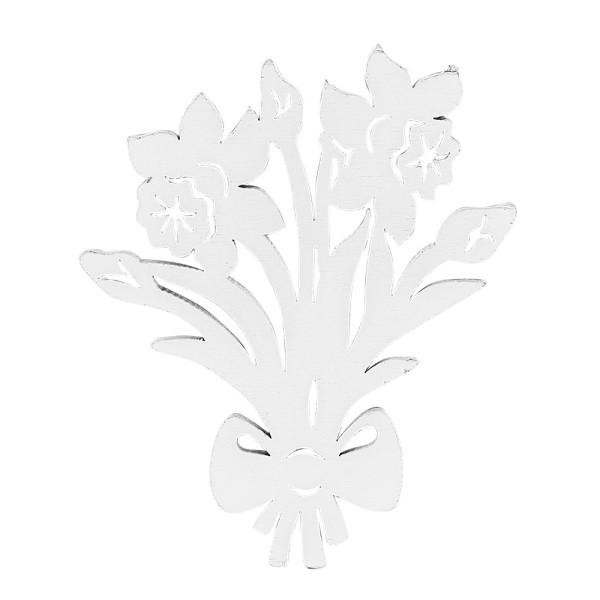 Blumensträuße, Holz, 11cm x 9,1cm x 0,5cm, weiß, 10 Stück