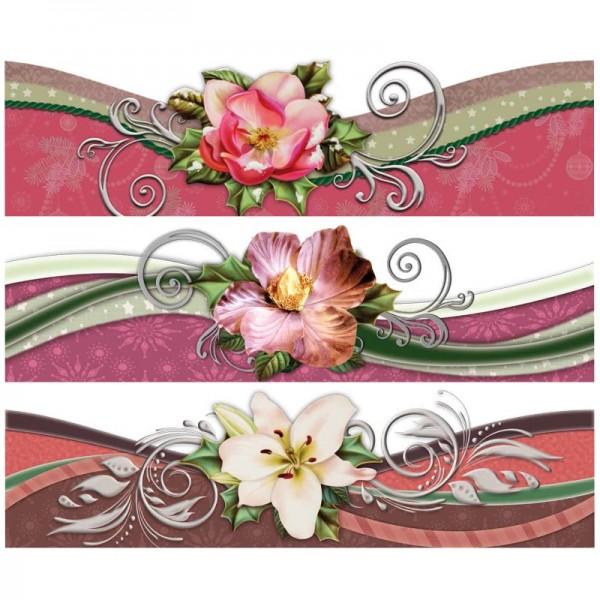 """Zauberfolien """"Winterblüten mit Schwung 2"""", Schrumpffolien für Ø8cm, 7,5cm hoch, 6 Stück"""