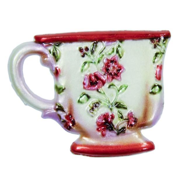 Wachsornament Tasse mit Blumenzierde, 4,5 x 6 cm, Design 3