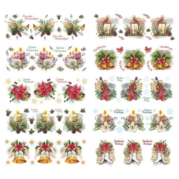 Transparent-Sticker, Weihnachtliche Floristik, 10cm x 30cm, 10 Bogen