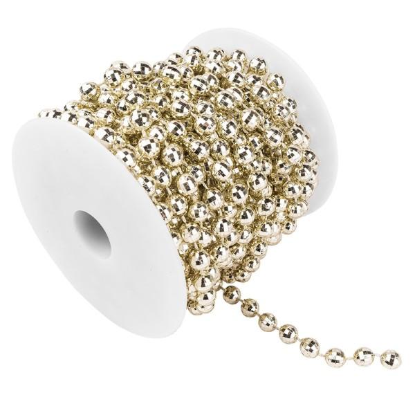 Perlen-Band, auf Rolle, 10m lang, facettierte Perlen; Ø 6mm, hellgold
