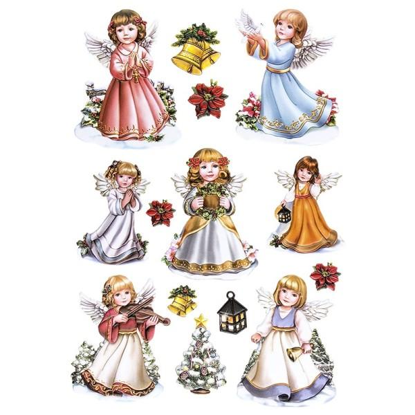 3-D Relief-Sticker, Engelchen 1, verschiedene Größen, selbstklebend