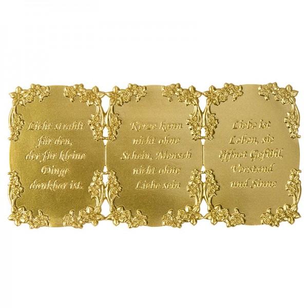 Wachsplatte, Wachsornamente, geprägt, 10 x 20 cm, gold, Sprüche