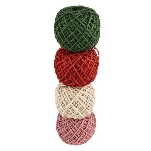 Jutekordeln, Ø 2 mm, verschiedene Farben, je 50 m lang, 4 Stück