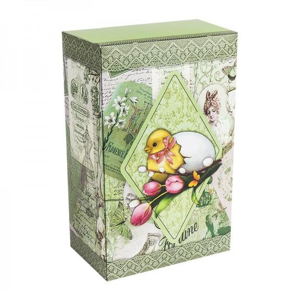 Geschenkbox Kaffee, Vintage, 18cm x 11cm x 7cm, grün
