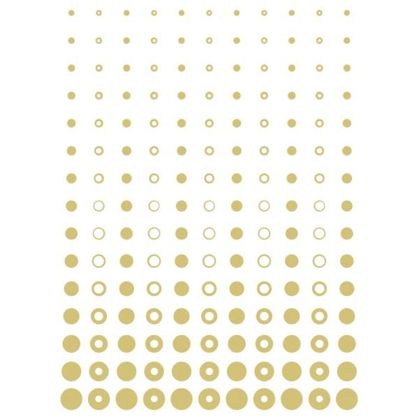 Metallic-Bügeltransfer, Hintergrund, Punkte & Kreise, 25cm x 34cm, gold glänzend