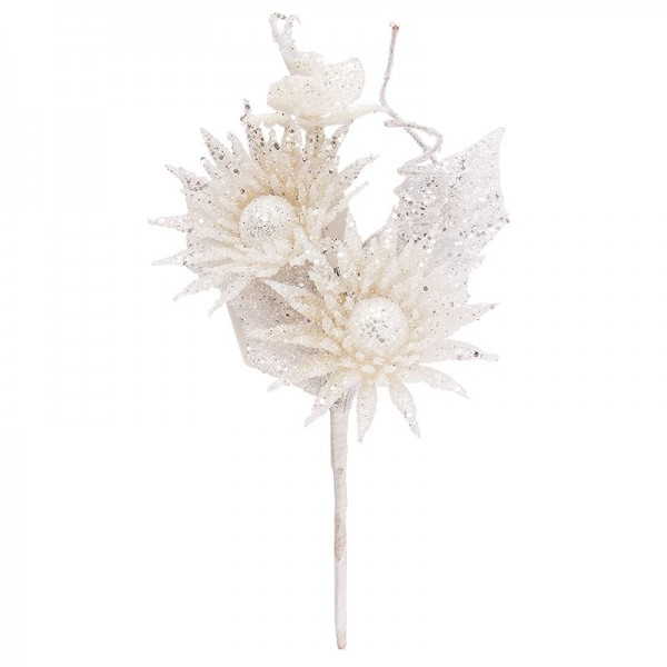 Deko-Zweig, Frosty 2, 14cm lang, weiß mit Glitzer