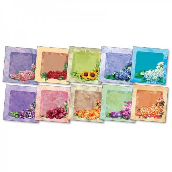 "3-D Grußkarten ""Blüten-Ecken"", inkl. Umschläge, 30-teilig"