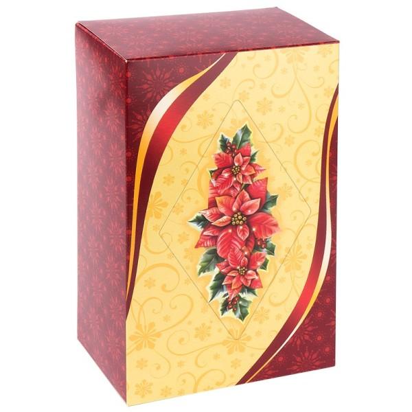 Geschenkbox Kaffee, 18 cm x 11 cm x 7 cm, Weihnachtsstern, rot