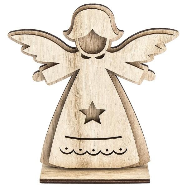 3-D Engel aus Holz, Design 2, 14,4cm x 16cm, zum Aufstellen, 3-teilig