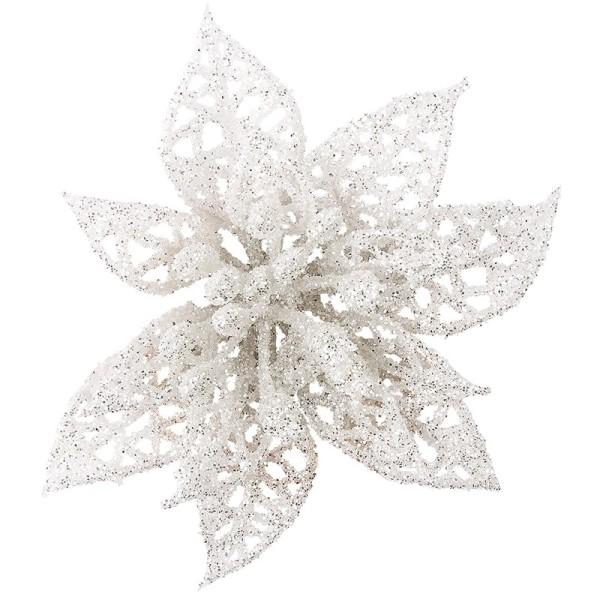Deko-Blüten, Frosty 6, 30g, weiß mit Glitzer