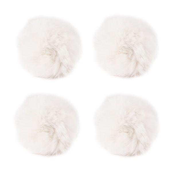 Fell-Pompons, Ø 8cm, weiß, 4 Stück