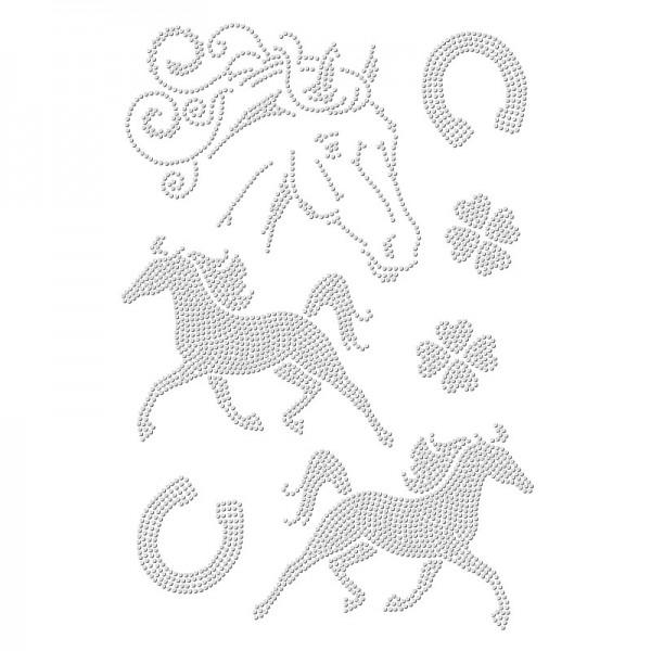 Bügelstrass-Design, DIN A4, einfarbig, klar, Pferde