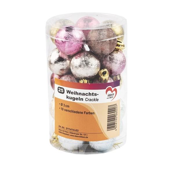Weihnachtskugeln, Crackle, Ø 3cm, 10 verschiedene Farben, 25 Stück