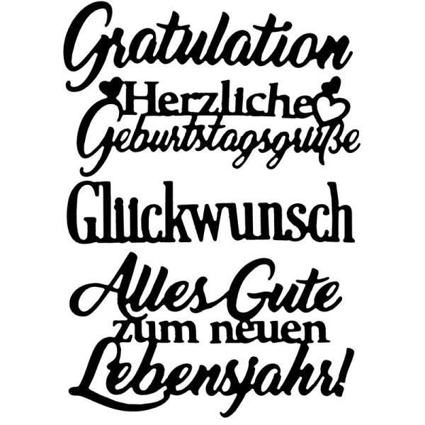 Stanzschablonen, Schriften, Geburtstagswünsche 6, 4 Stück