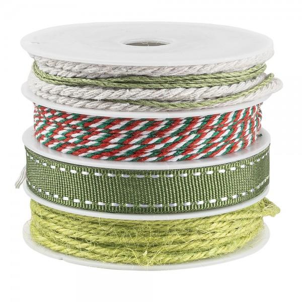 Geschenkband Mix, 1mm bis 10mm breit, versch. Designs, grün, 4 Rollen