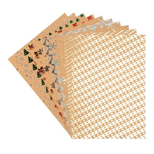 Design-Papier, Winter/Weihnachten, DIN A4, 250g/m², 10 Designs, 10 Bogen