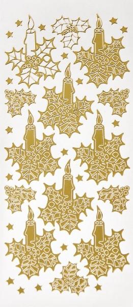 Sticker, Kerzen mit Ilex, Perlmuttfolie, gold