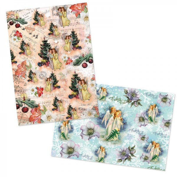 """Reispapiere, Weihnachten """"Engel"""", DIN A4, 2 Designs"""