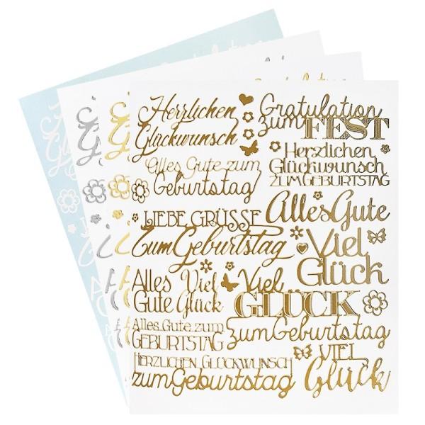 """Stickerbogen """"Handlettering Art"""", Gratulationen, gold, silber, weiß, 20cm x 23cm, 4 Bogen"""