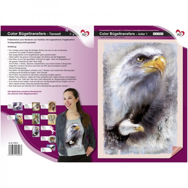 Color Bügeltransfers, DIN A4, Tierwelt, Adler 1