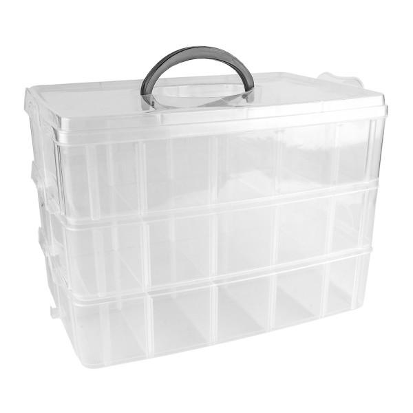 Sortier-/Aufbewahrungsbox mit Tragegriff, 26cm x 18,5cm x 17cm, 3 Ebenen mit je 10 Fächern