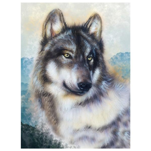Diamond Painting, Wolf, 25cm x 35cm, Motivleinwand, runde Steinchen, inkl. Werkzeug