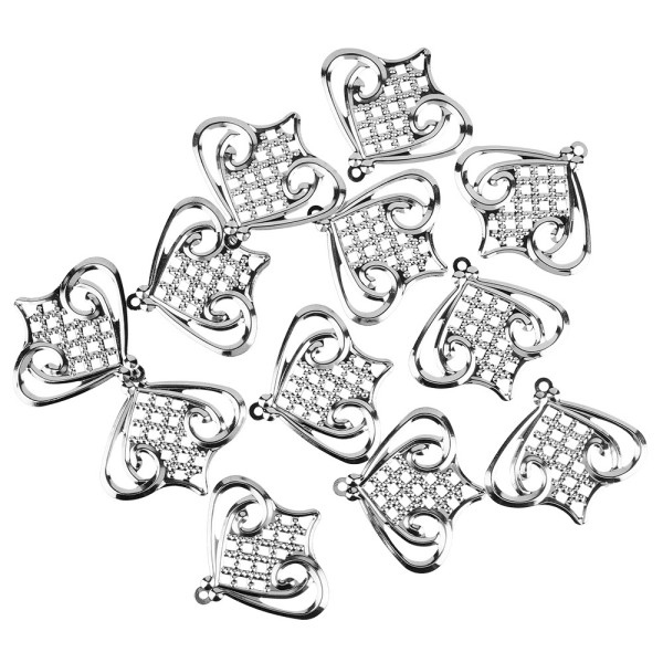 Metall-Ornamente, Design 5, 5,5cm x 5cm, silber, 12 Stück