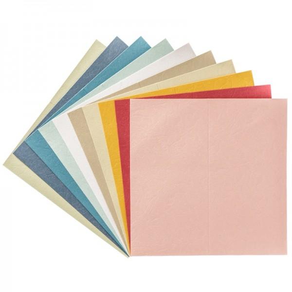 Geprägte Perlmutt-Doppelkarten + Umschläge, DIN lang, bunt, 10 Stück