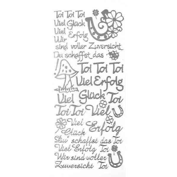 """Sticker, Schriften, """"Viel Glück/Erfolg"""", uvm., Spiegelfolie, silber"""