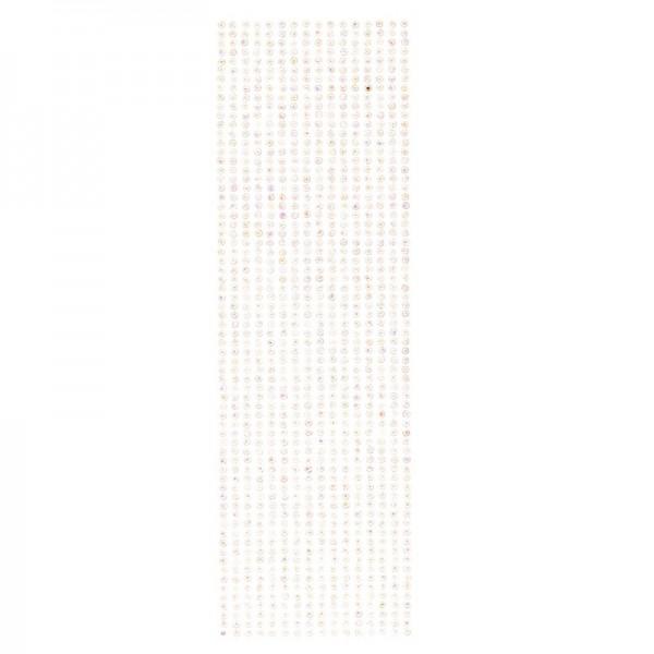 Schmuckstein-Bordüren, selbstklebend, facettiert, irisierend, Ø4mm, 29cm, 16 Stück, weiß