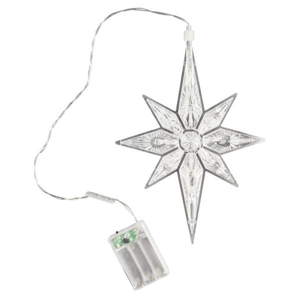 LED-Octa-Stern, 27,5cm x 19,5cm, 11 LED-Lämpchen, warmweiß, transparent, klar, Timer