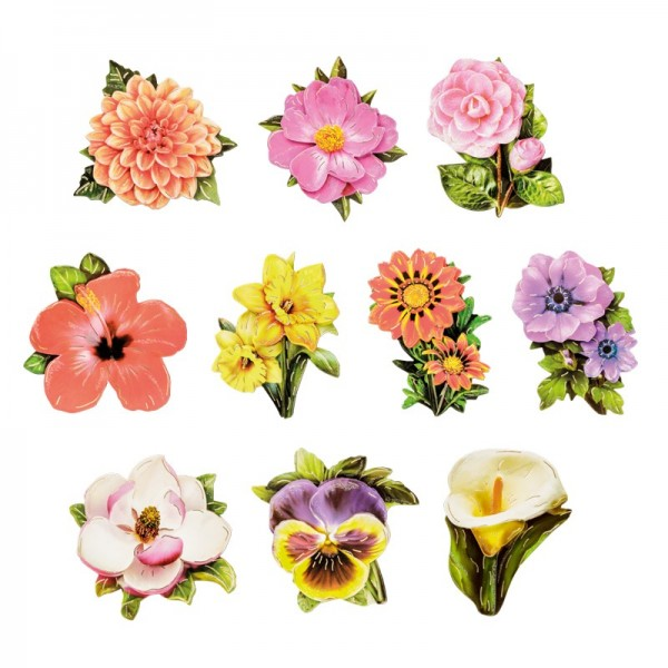 3-D Motive, Blütenpracht, Gold-Gravur, 5,5-7,5cm, 10 Motive