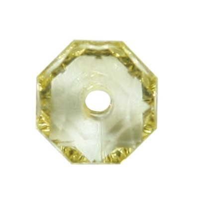 Oktagon-Perlen, transparent, 8,5mm, gelb, 50 Stück