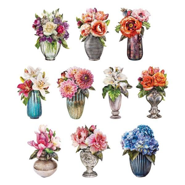 3-D Motive, Stilvolle Blumenvasen 2, 6-10cm, 10 Motive