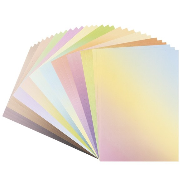 Deko-Karton, Farbverläufe pastell, DIN A4, 10 verschiedene Farbverläufe, 30 Bogen