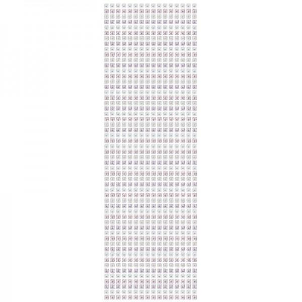 Schmuckstein-Bordüren, selbstklebend, facettiert, irisierend, 29cm, Quadrate, weiß