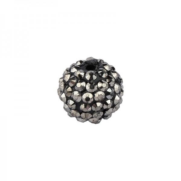 Kristall-Perlen, Ø14 mm, 10 Stück, schwarz-irisierend