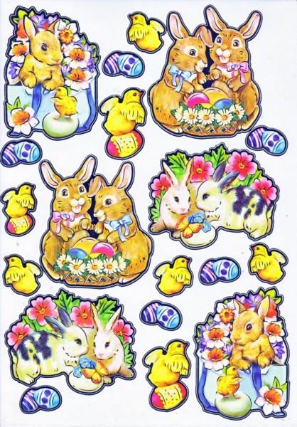Ultra Gloss Sticker, Hasenpaar & Küken